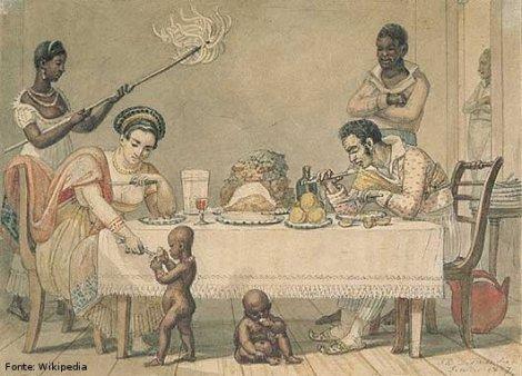 Pintura do artista francês Jean-Baptiste Debret (1768-1848), retratando a refeição de uma família abastada no Rio de Janeiro.